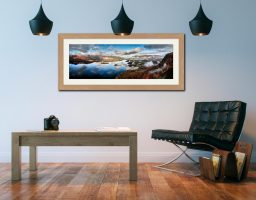 Derwent Water Clouds - Framed Print with Mount on Wall