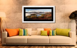 Loughrigg Tarn and Langdale Panorama - Framed Print with Mount on Wall