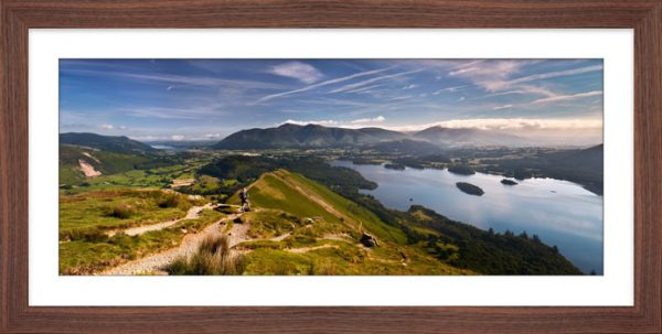 Cat Bells Panoramic View - Framed Print with Mount