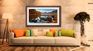 Golden Autumn Blea Tarn - Framed Print with Mount on Wall