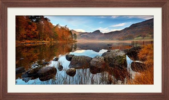 Golden Autumn Blea Tarn - Framed Print with Mount