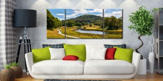 River Brathay Walk - 3 Panel Wide Mid Canvas on Wall