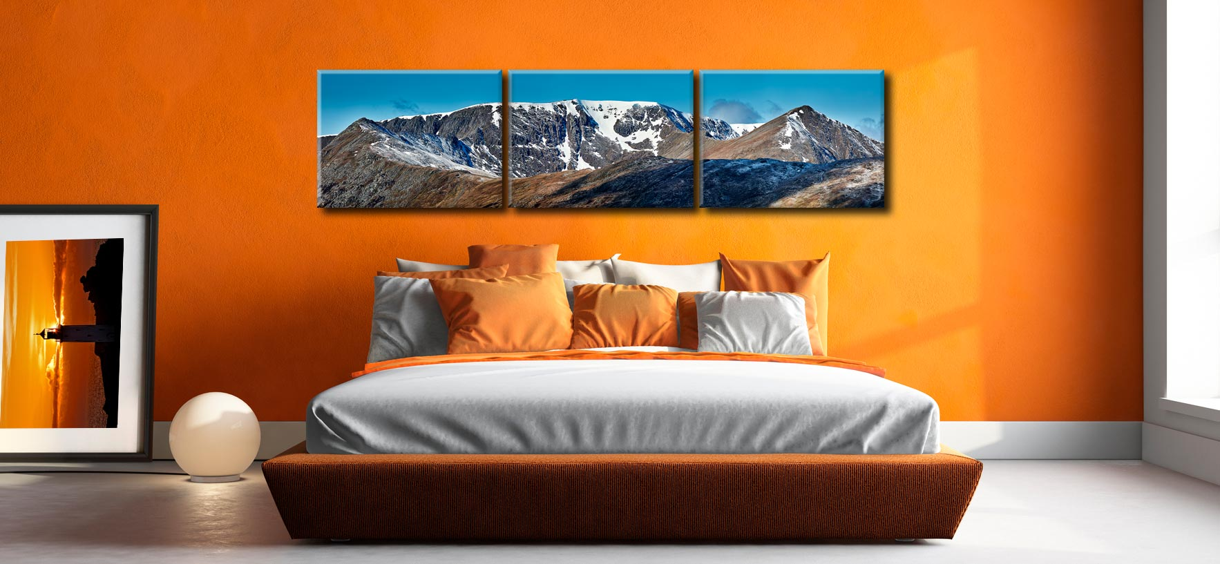 Helvellyn Snow Capped - 3 Panel Canvas on Wall