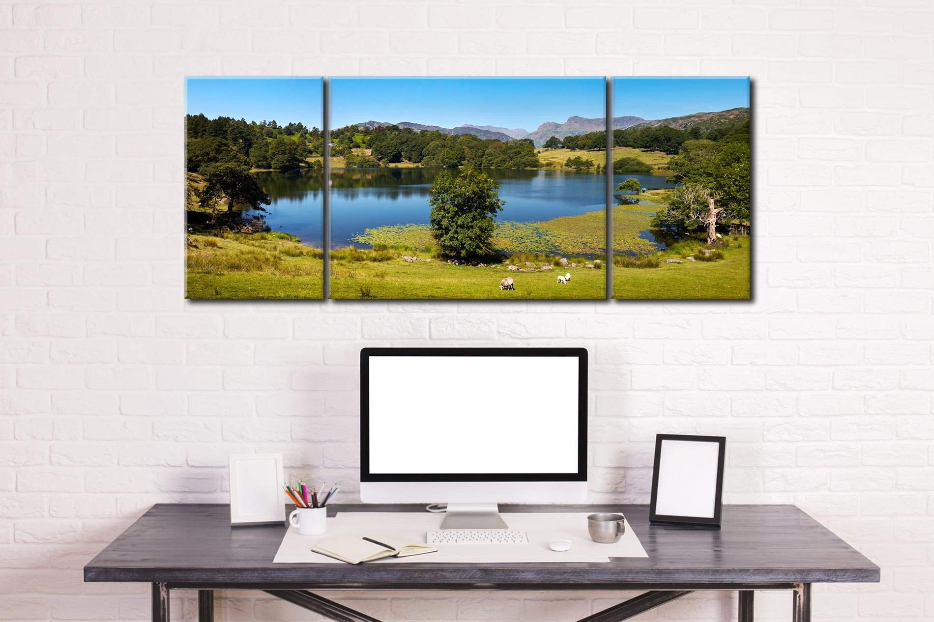 Loughrigg Tarn in Summer - 3 Panel Wide Mid Canvas on Wall