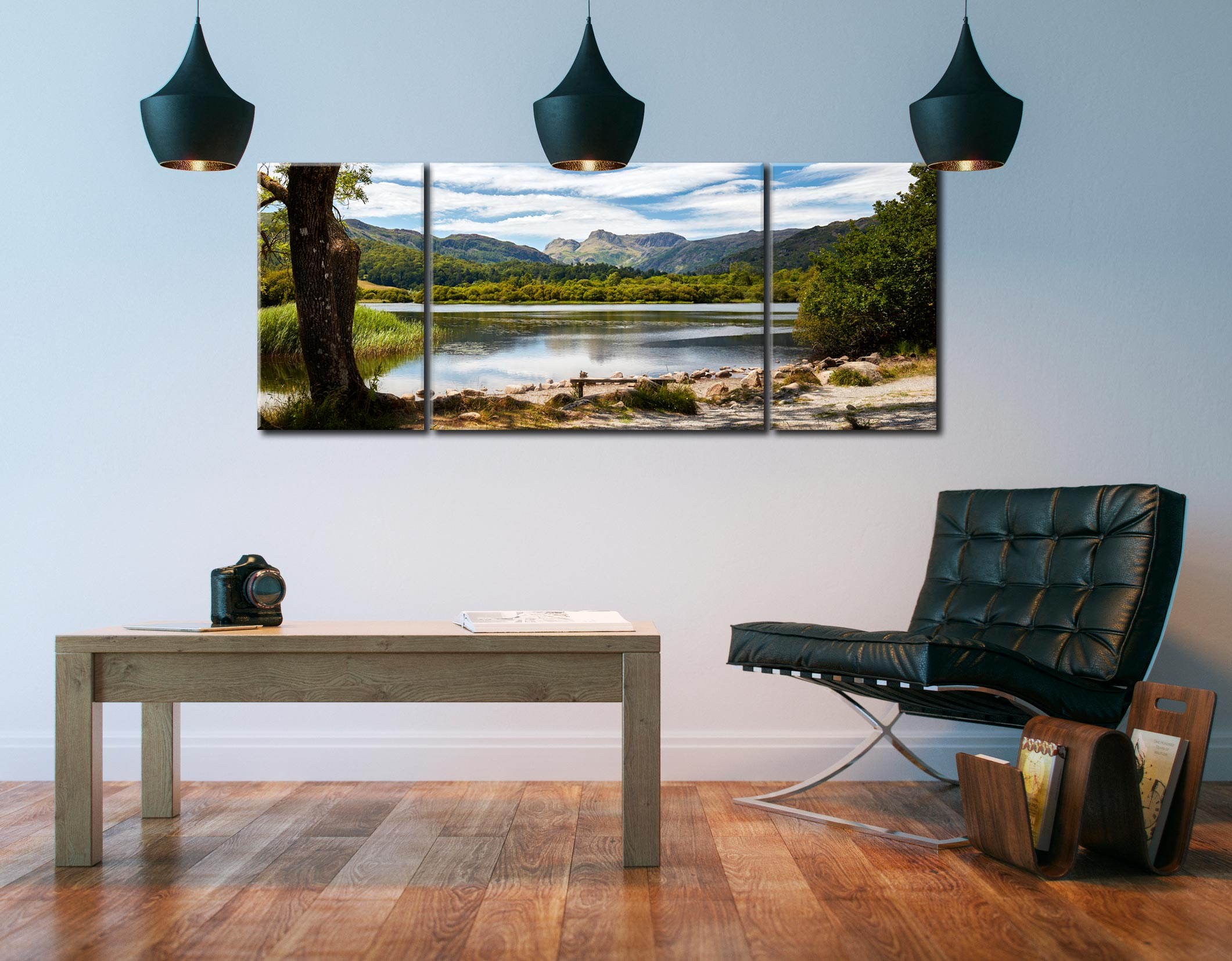 Elterwater Summer Afternoon - 3 Panel Wide Mid Canvas on Wall