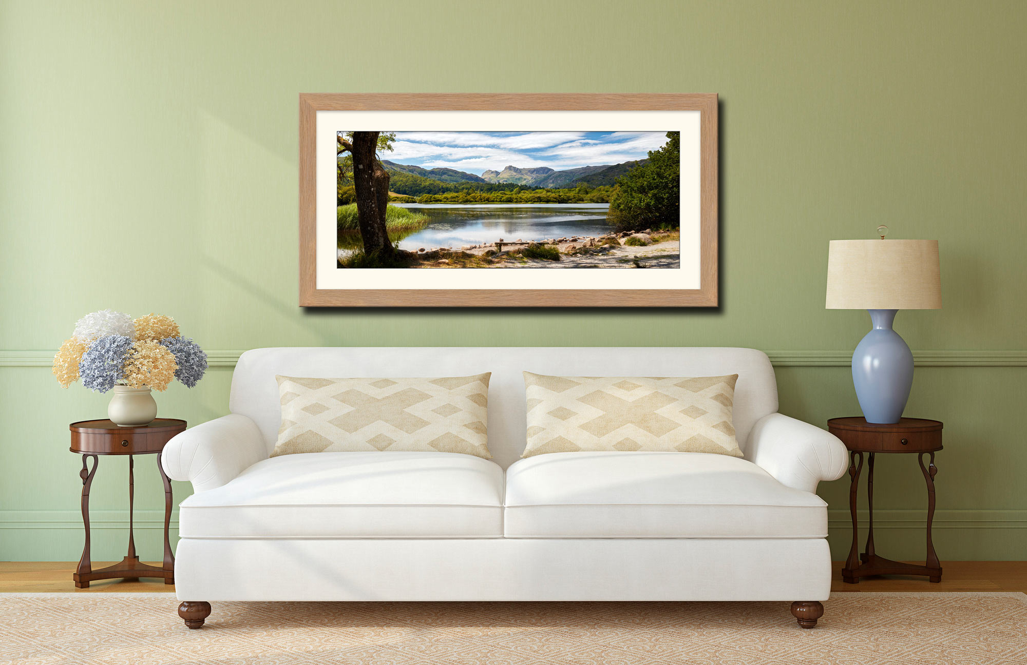Elterwater Summer Afternoon - Framed Print with Mount on Wall