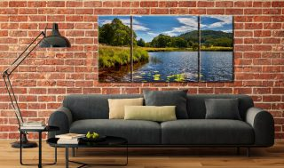 River Brathay Summers Afternoon - 3 Panel Wide Centre Canvas on Wall