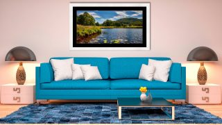 River Brathay Summers Afternoon - Framed Print with Mount on Wall