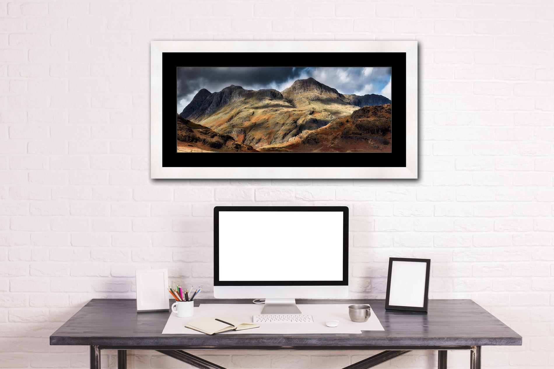 Scafell Mountains in Winter - Framed Print with Mount on Wall