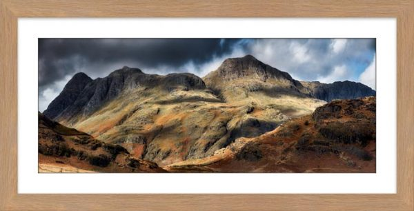 Scafell Mountains in Winter - Framed Print with Mount