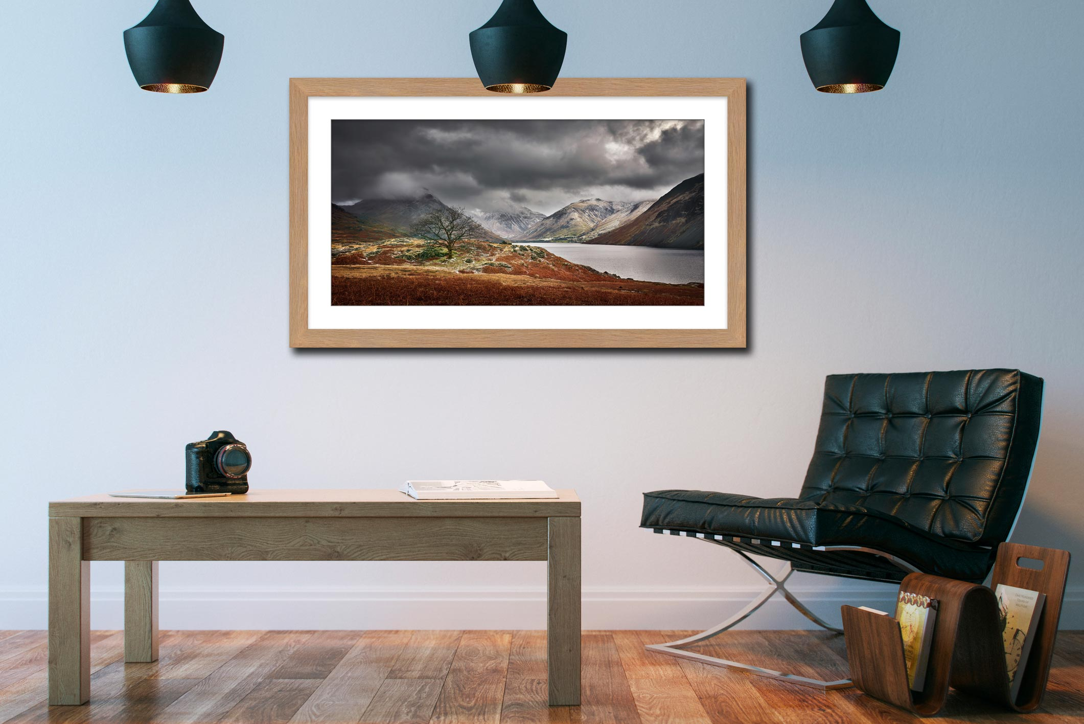Winter Colours of Wast Water - Framed Print with Mount on Wall