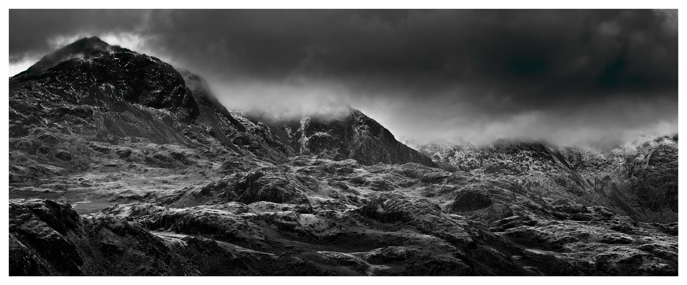 Scafell mountains in winter lake district poster