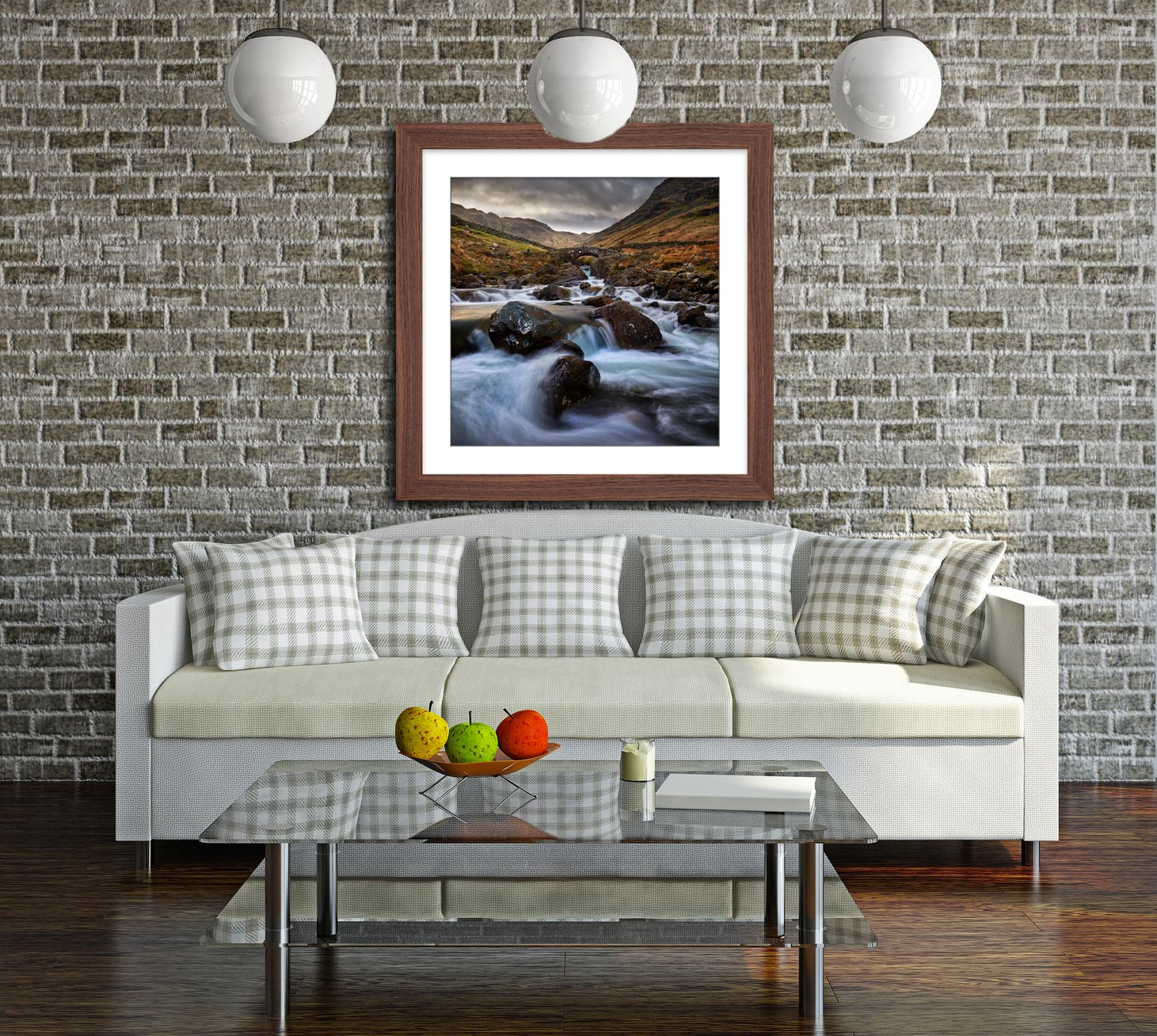 Stockley Bridge Grains Gill - Framed Print with Mount on Wall