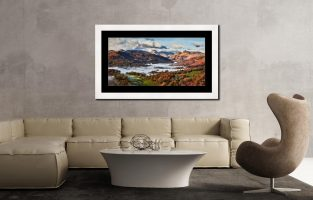 Autumn Morning in Langdale - Framed Print with Mount on Wall