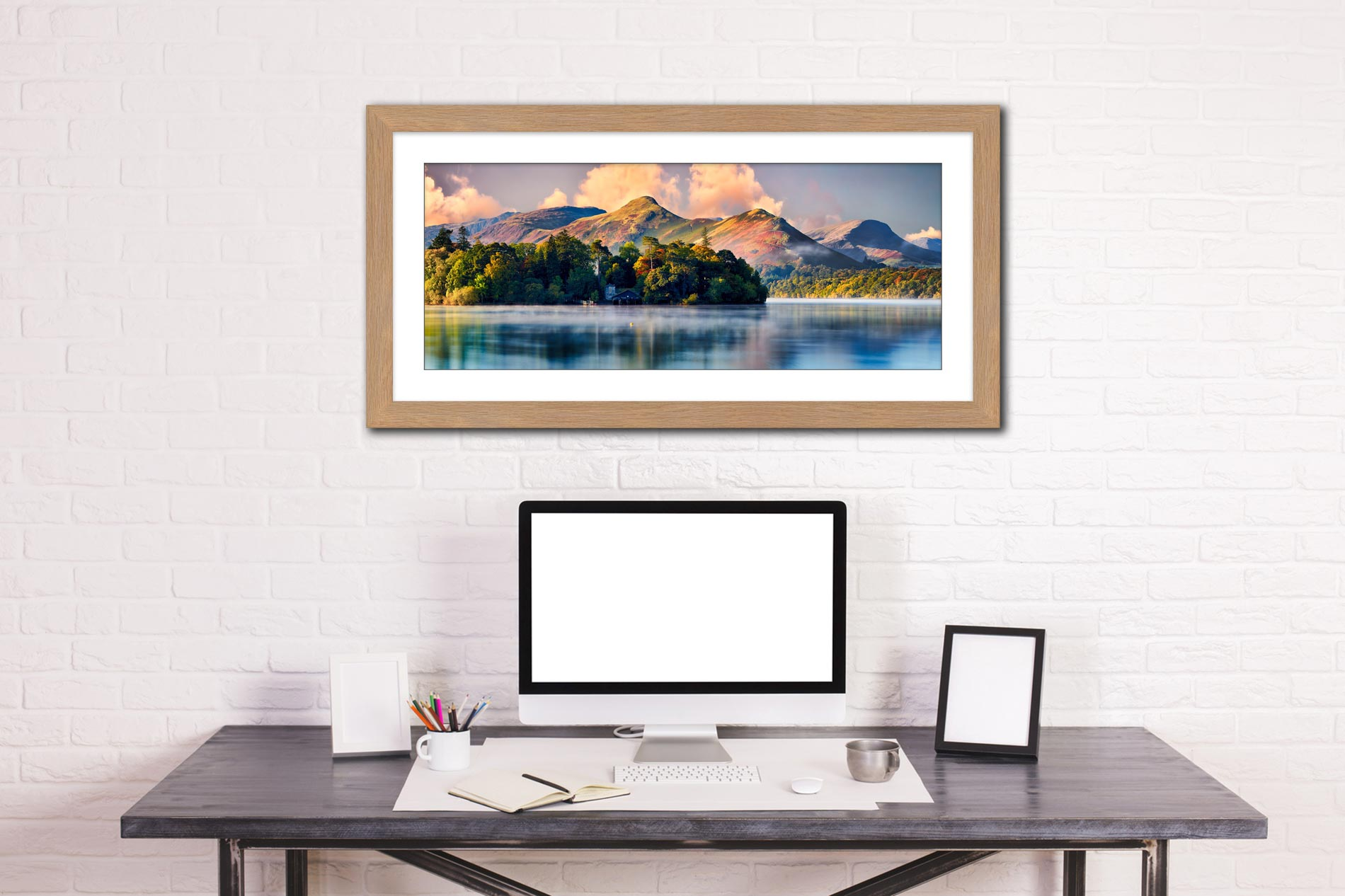 Morning Mists Around Derwent Isle - Framed Print with Mount on Wall