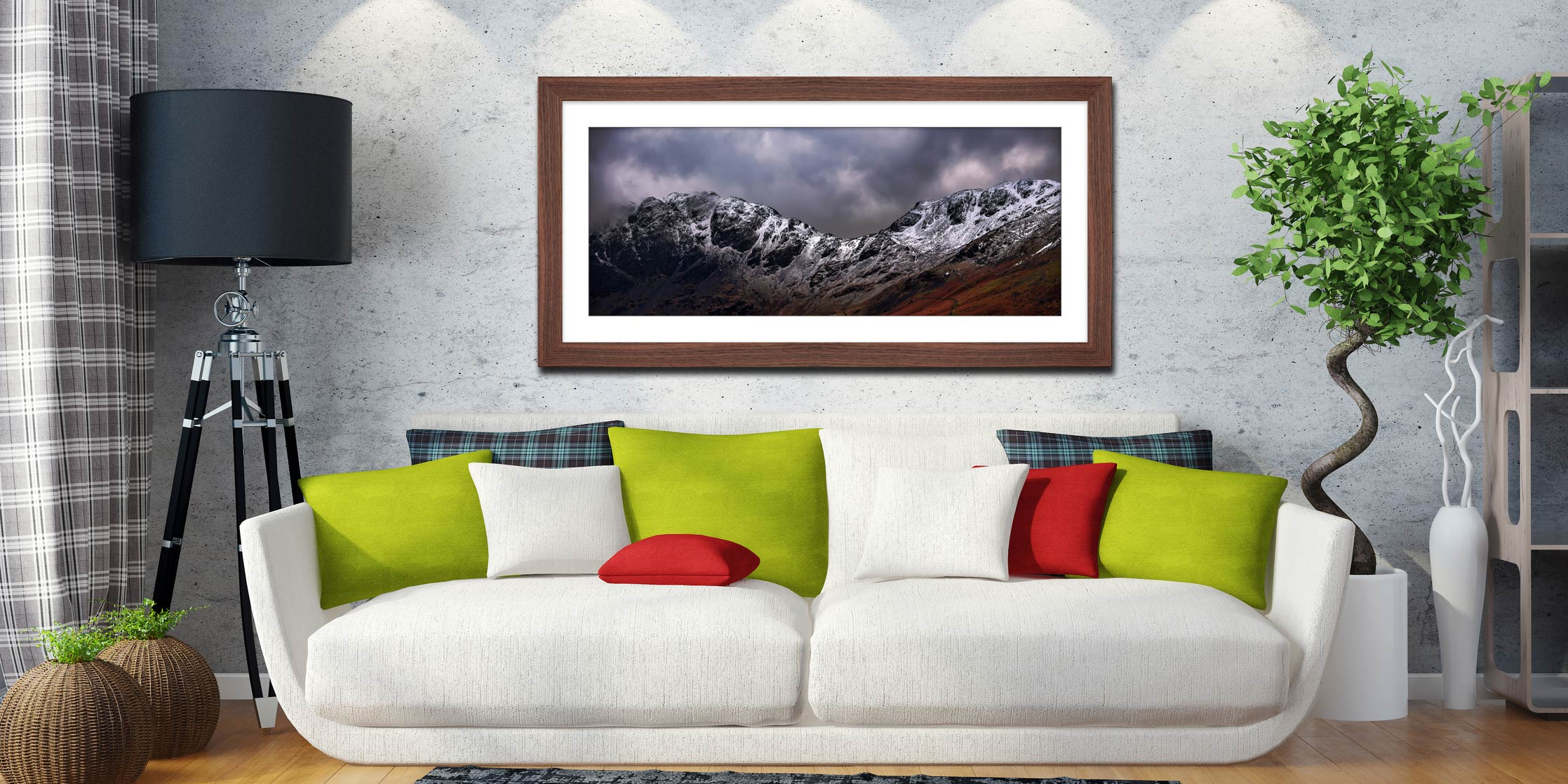 Hay Stacks and Scarth Gap Winter - Framed Print with Mount on Wall