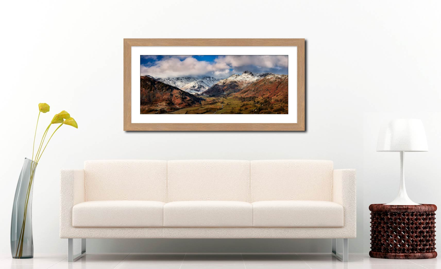 Langdale Valley Winter Panorama - Framed Print with Mount on Wall