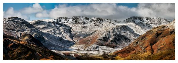 Snow on Crinkle Crags and Bow Fell - Lake District Print