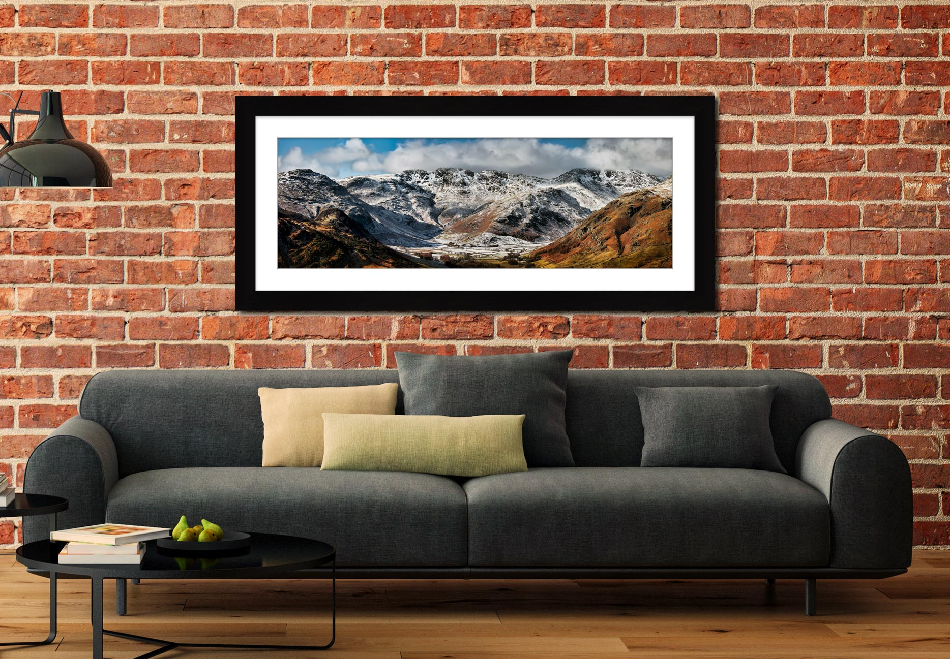 Snow on Crinkle Crags and Bow Fell - Framed Print with Mount on Wall