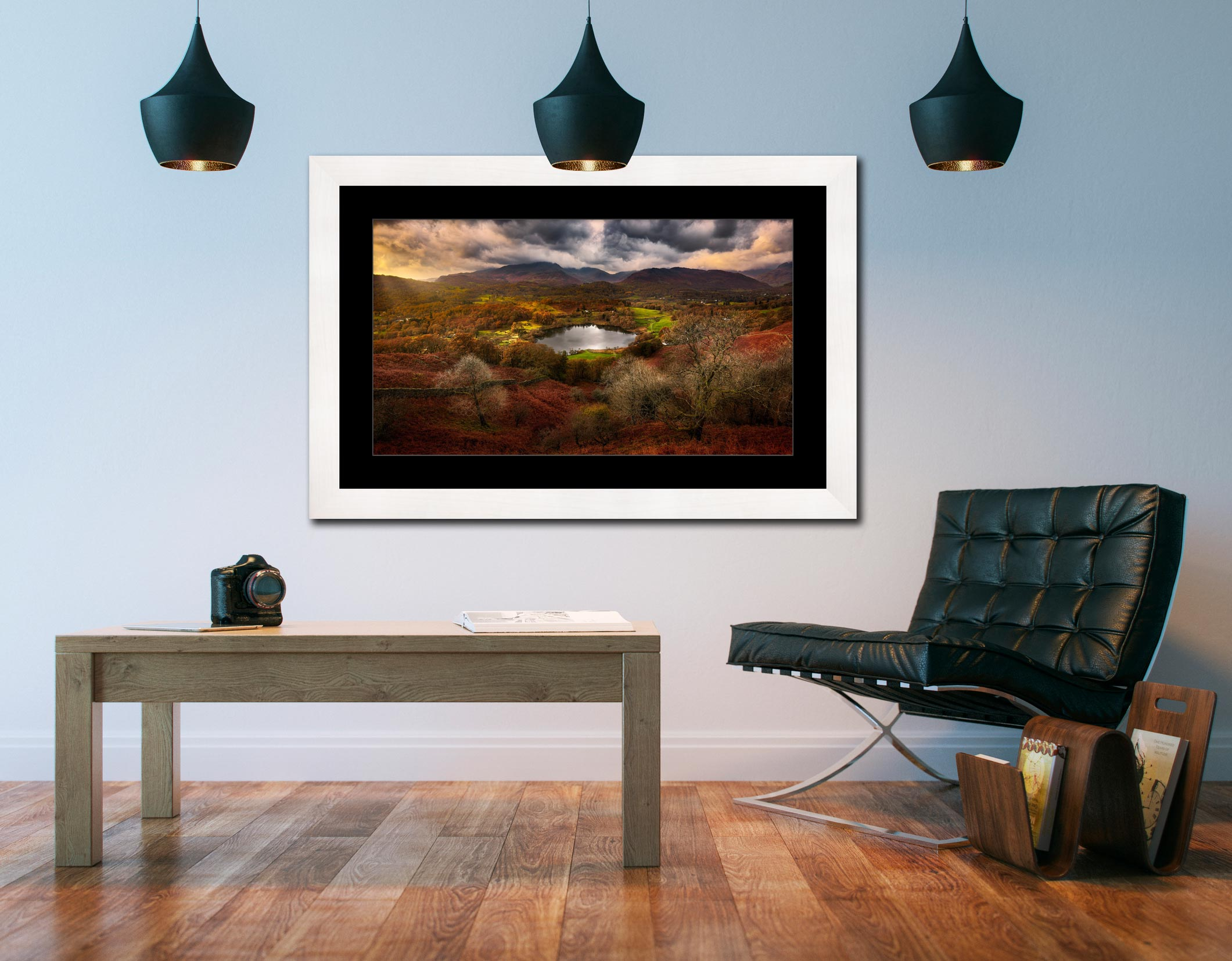 Golden Browns of Loughrigg - Framed Print with Mount on Wall
