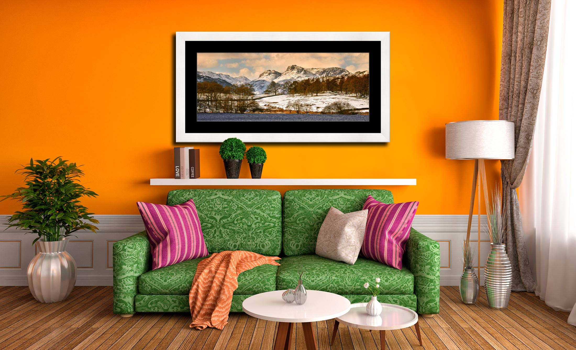 Loughrigg Tarn Winter View - Framed Print with Mount on Wall