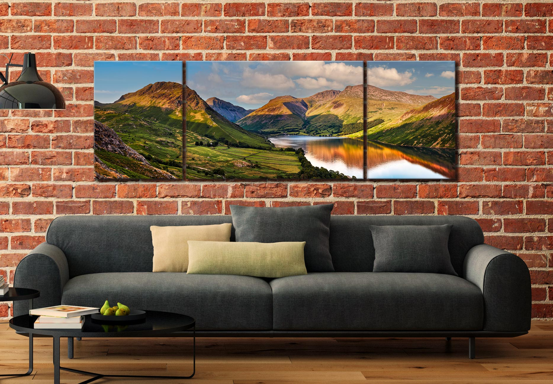 Wast Water in the Evening Sun - 3 Panel Wide Mid Canvas on Wall