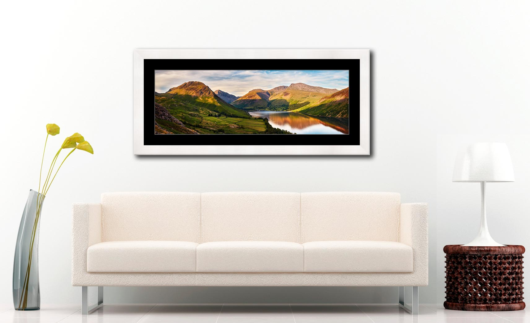 Wast Water in the Evening Sun - Framed Print with Mount on Wall