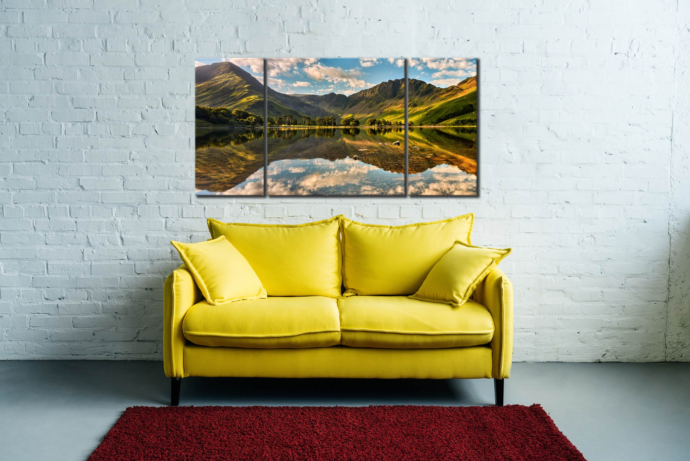 The Greens of Buttermere - 3 Panel Wide Centre Canvas on Wall