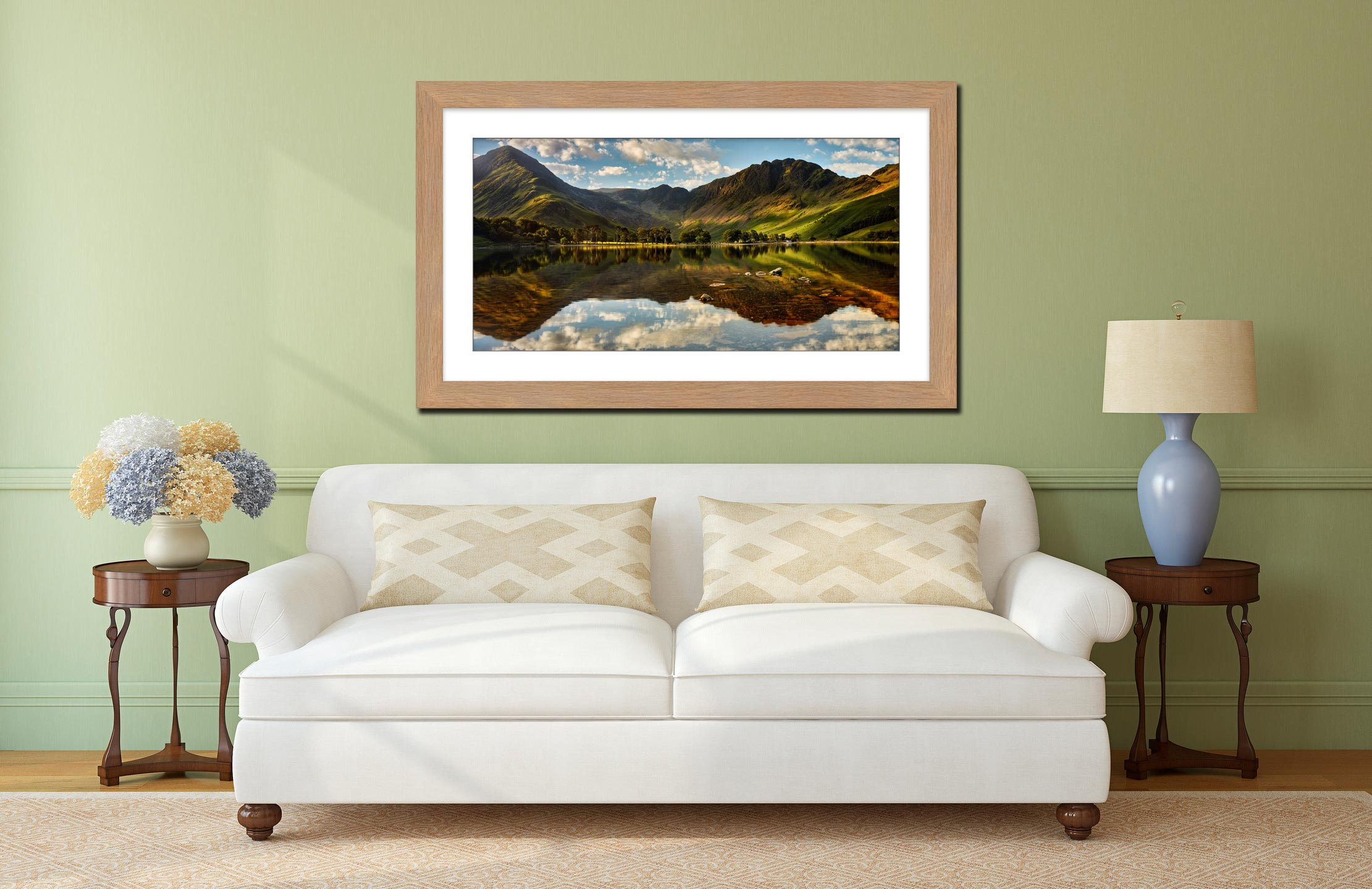 The Greens of Buttermere - Framed Print with Mount on Wall