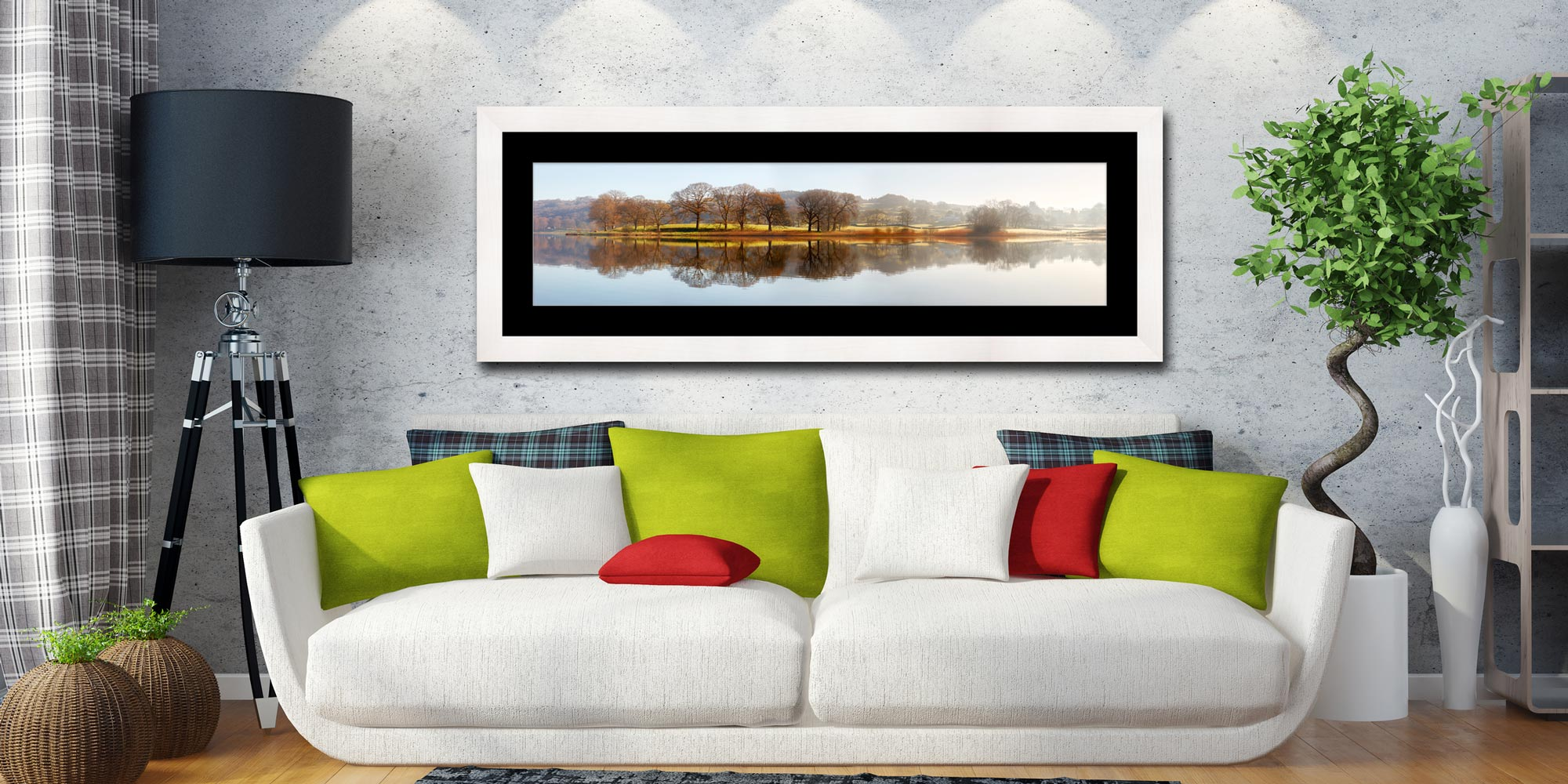 Misty Morning at Esthwaite Water - Framed Print with Mount on Wall