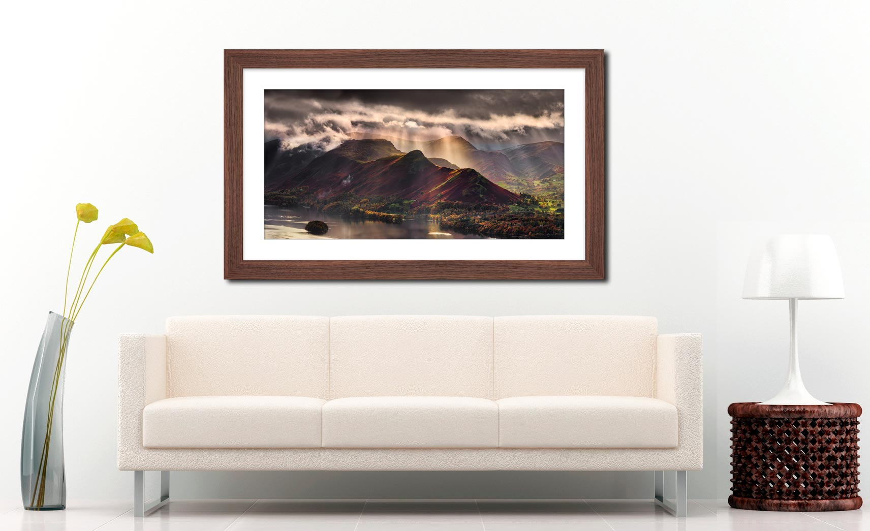 Sunshine and Showers on Cat Bells - Framed Print with Mount on Wall