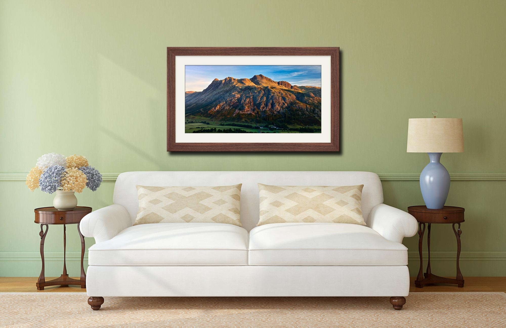 The Langdale Pikes in the Morning Light - Framed Print with Mount on Wall