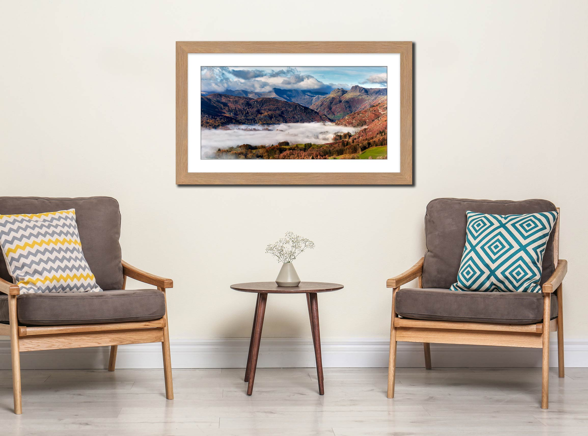 Great Langdale Mountains and Mist - Framed Print with Mount on Wall