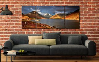 Warm Sunlight on Wasdale Head - 3 Panel Wide Mid Canvas on Wall