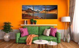 Warm Sunlight on Wasdale Head - 3 Panel Canvas on Wall