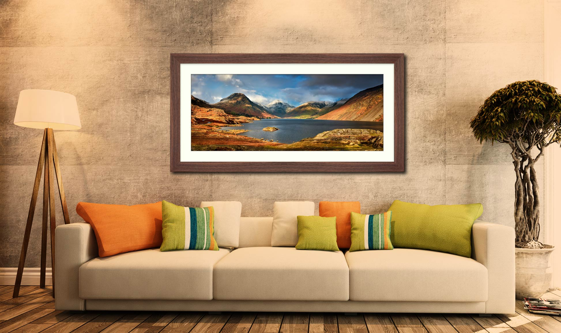 Wast Water Sunlight - Framed Print with Mount on Wall