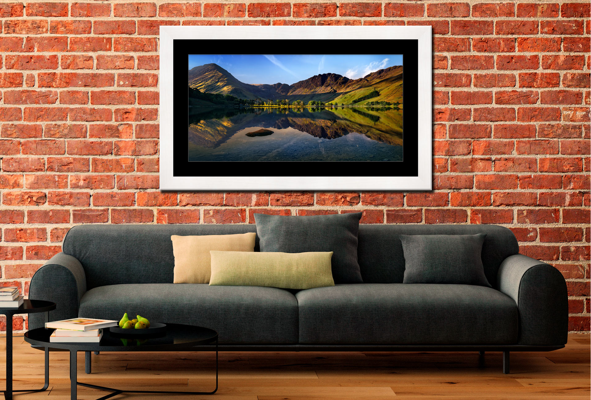 Stillness at Buttermere - Framed Print with Mount on Wall