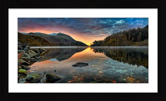 Thirlmere Autumn Dawn - Framed Print with Mount