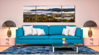 Windermere Morning Mists - 3 Panel Wide Mid Canvas on Wall