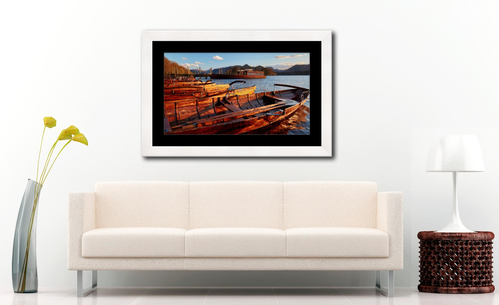 Golden Boats at Dusk - Framed Print with Mount on Wall