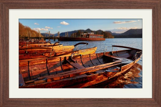 Golden Boats at Dusk - Framed Print with Mount