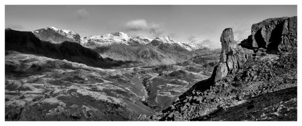 Eskdale Needle Winter Panorama - Black White Print