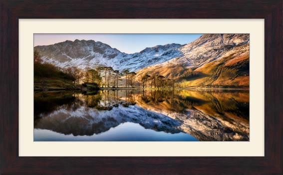 Winter Reflections Buttermere - Framed Print with Mount