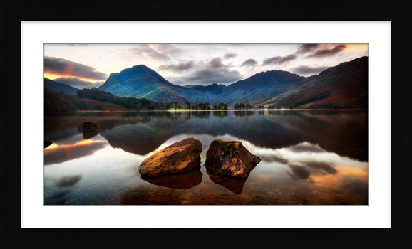 Buttermere Rocks - Framed Print with Mount