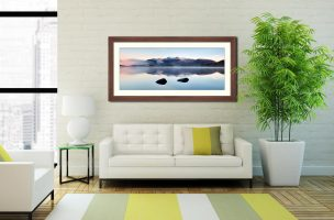 New Day Dawns at Derwent Water - Framed Print with Mount on Wall