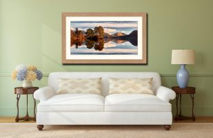 Otter Island in Derwent Water - Framed Print with Mount on Wall