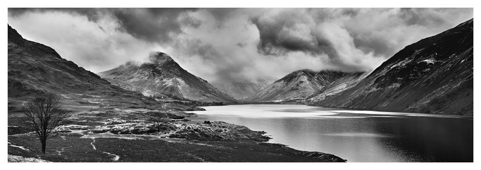 Dark Skies Over Wast Water - Black White Print