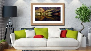 Wasdale Head Reflections - Framed Print with Mount on Wall