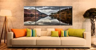 Thirlmere Late Autumn - 3 Panel Wide Mid Canvas on Wall