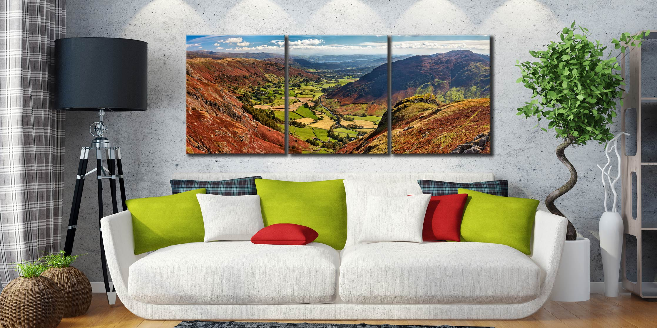 The Great Langdale Valley - 3 Panel Canvas on Wall